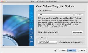 Outer Volume Encryption Options