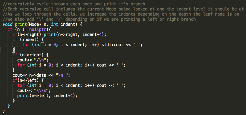 Sweet Binary Search Tree Print in C++ – Just another